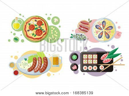 Pizza. Sushi. Sausage. Spanish cuisine. Paella. Jamon dry-cured ham. National dishes. Food banners horizontal concepts. German, Japanese, Italian Spanish cuisine famous meals Restaurants page menu