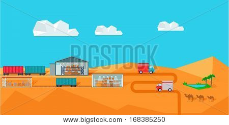 Warehouse on desert landscape. Warehouse interior, logisti and factory building exterior, business delivery, storage cargo vector illustration. Logistics and transportation of cargo.