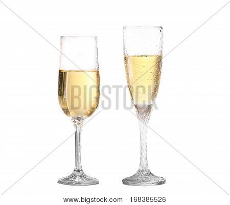 Collage Wineglass With White Wine. Concept And Idea