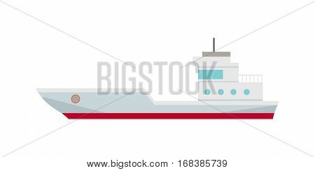 Commercial container ship in flat. Cargo ship icon. Logistics and transportation of cargo freight ship and cargo container. Isolated object in flat design on white background.