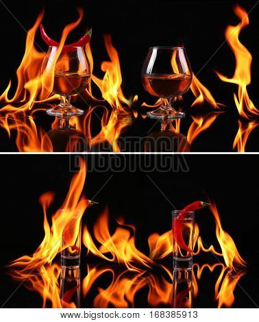 Collage Hot Chili Pepper In A  Brandy Glass With A Fire On A Black Background
