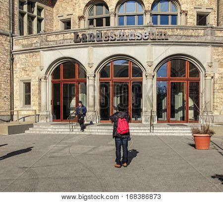 Zurich, Switzerland - 29 January, 2017: people at the entrance to the Swiss National Museum. The Swiss National Museum (German: Landesmuseum) is one of the most important art museums of cultural history in Europe.