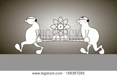 Two scientists bear stretcher with big atom