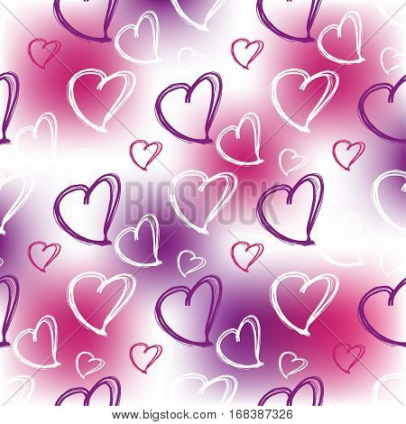 Romantic pattern. Vector pattern with heart shape. Hand drawn pattern.