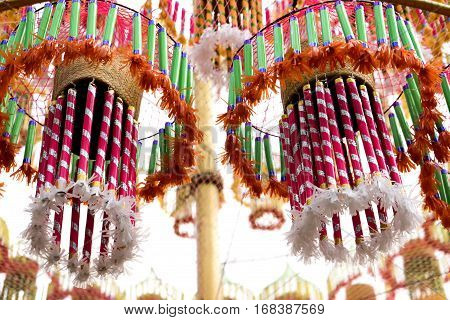 Colorful Local Art Sculpture Of Thailand Northeastern, Thailand Festivals Hae Krathup Tradition An A