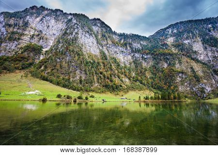 Berchtesgaden in Germany on the border with Austria. Famous lake Konigssee. Picture taken from on board tourist boats. The concept of active tourism and ecotourism