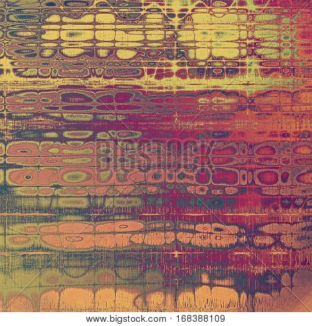 Vintage ancient background or texture with grunge decor elements and different color patterns: yellow (beige); green; red (orange); purple (violet); gray; pink