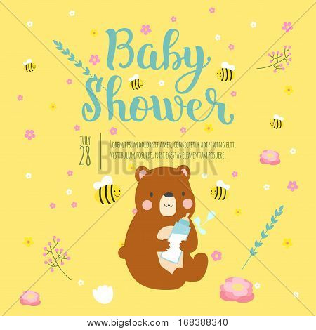 Baby shower design with cute woodland animal born arrival vector graphic. Party template vintage cute birth invitation. Welcome greeting card decoration celebration.