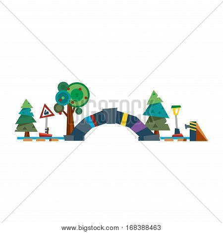 End of the rail line with barrier and buffer vector illustration. Flat design style abstract building river tunnel. Train steel transport travel old road sign.