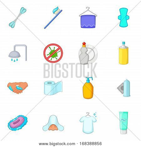 Hygiene icons set. Cartoon illustration of 16 hygiene items vector icons for web