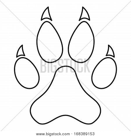 Paw print icon. Outline illustration of paw print vector icon for web
