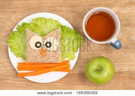 Funny sandwich for kids in shape of an owl