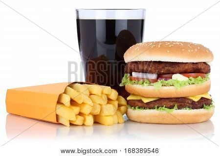 Double Burger Hamburger And Fries Menu Meal Combo Cola Drink Isolated