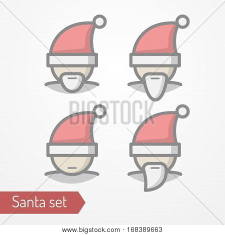 Collection of Santa Claus heads with beard. Abstract person celebrating new year in festive hat. Man head isolated icon in flat line style. New year celebration vector stock image.