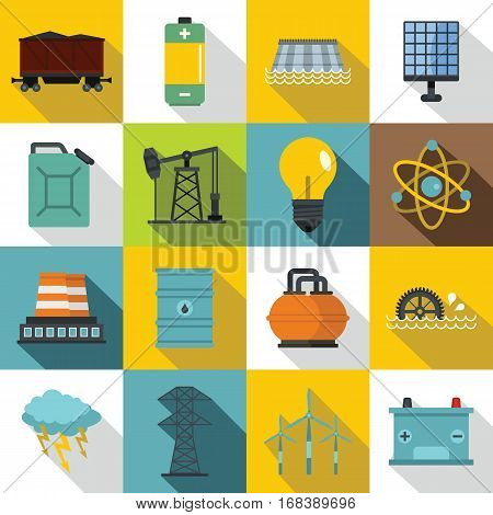 Energy sources icons set. Flat illustration of 16 energy sources vector icons for web