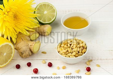 Pine Nuts With Ginger, Lemon, Lime, Honey And Cowberries
