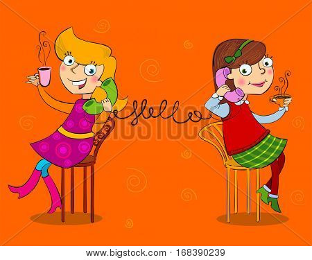 Two cartoon girls talking telephone and drinking tee and coffee.