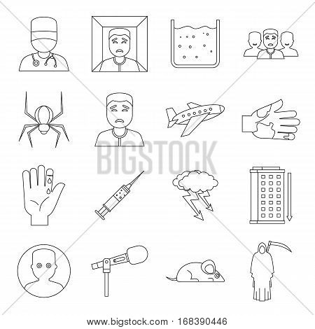 Phobia symbols icons set. Outline illustration of 16 phobia symbols vector icons for web