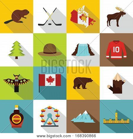 Canada travel icons set. Flat illustration of 16 Canada travel vector icons for web