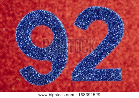 Number ninety-two blue color over a red background. Anniversary. Horizontal