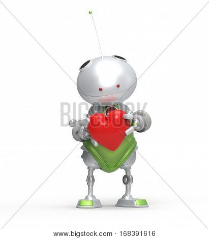 3d robot with heart in hand. Isolated