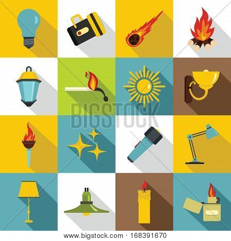 Light source symbols icons set. Flat illustration of 16 light source symbols items vector icons for web