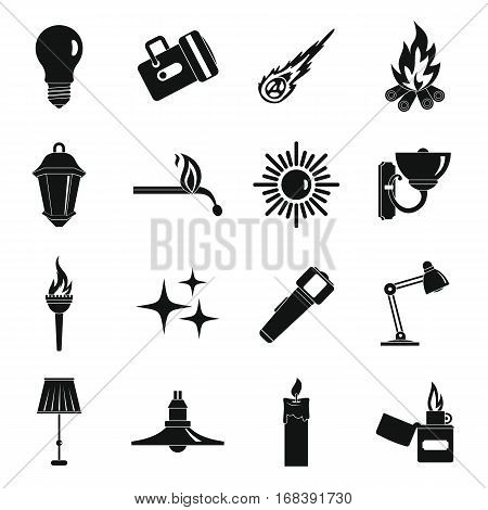 Light source symbols icons set. Simple illustration of 16 light source symbols items vector icons for web
