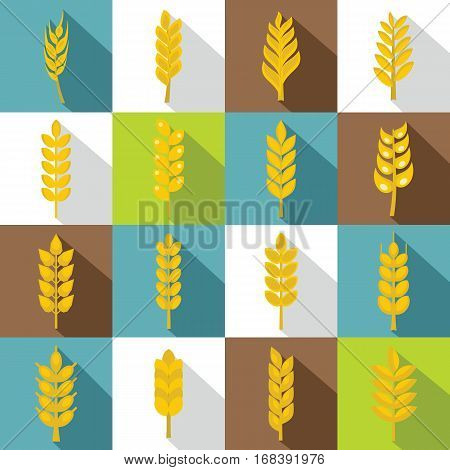 Ear corn icons set. Flat illustration of 16 ear corn vector icons for web