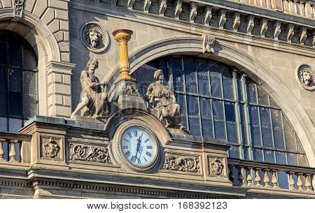 Zurich, Switzerland - 29 January, 2017: part of the facade of the Zurich main railway station building. Zurich main railway station building was designed by architect Jakob Friedrich Wanner, opened in 1871.