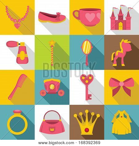 Doll princess items icons set. Flat illustration of 16 doll princess items vector icons for web