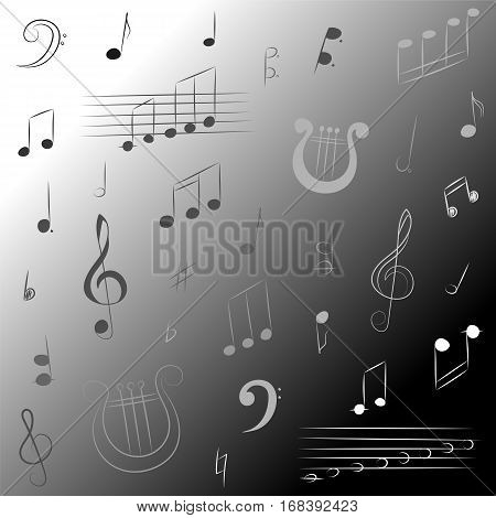 Hand Drawn Set of Music Symbols. Monochrome Doodle Treble Clef Bass Clef Notes and Lyre Vector Illustration.