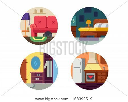 Set of furniture icons. Kitchen, hallway and bedroom. Vector illustration. Pixel perfect icons size - 128 px