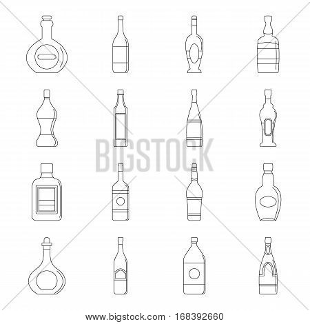 Bottle forms icons set. Outline illustration of 16 bottle forms vector icons for web