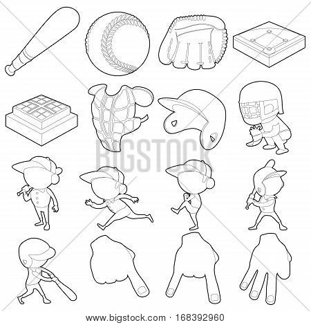 Baseball items icons set. Outline illustration of 16 baseball items vector icons for web