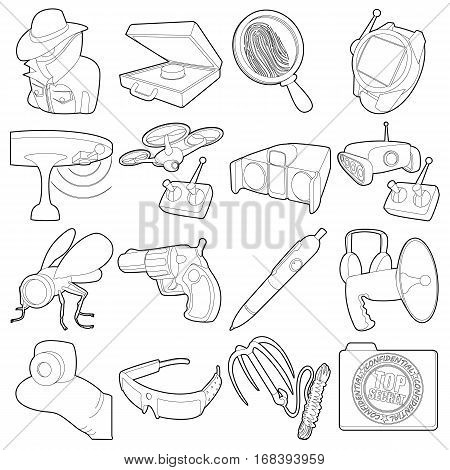 Spy and security icons set. Outline illustration of 16 spy and security vector icons for web