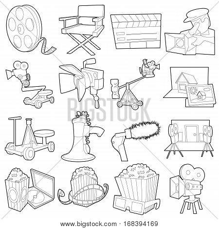 Movie cinema symbols icons set. Outline illustration of 16 movie cinema symbols vector icons for web