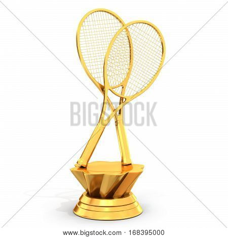 Golden Trophy With Tennis Rackets