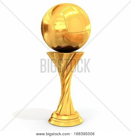 Golden Trophy With Volleyball