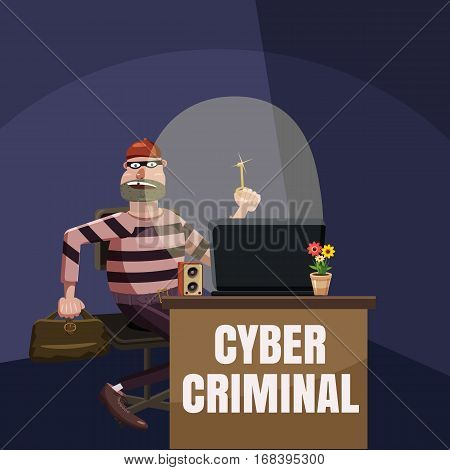 Computer criminal spy concept. Cartoon illustration of computer criminal spy vector concept for web