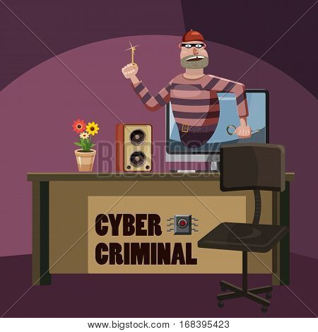 Cyber attack criminal spy concept. Cartoon illustration of cyber attack criminal spy vector concept for web