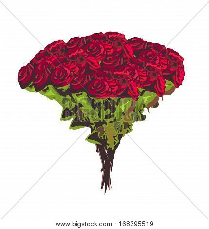 Big bouquet of red rose flowers isolated.