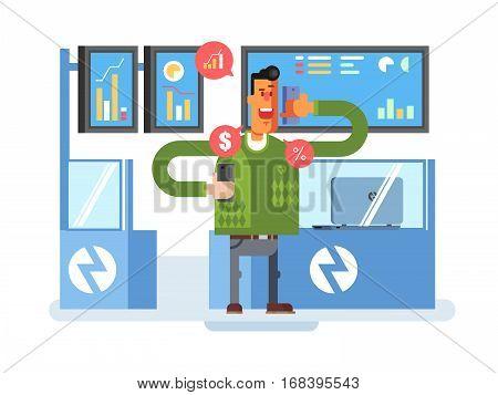 Stocks broker character. Broker finance, businessman and chart, vector illustration
