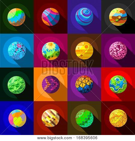 Fantastic colorful planets icons set. Flat illustration of 16 fantastic colorful planets vector icons for web
