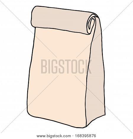 Brown paper lunch bag. Hand drawn sketchy craft paper food bag. Vector illustration.