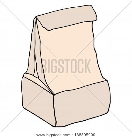 Brown paper lunch bag. Vector hand drawn illustration.