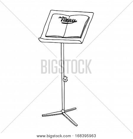 Menu metal holder, menu standing board for restaurant, cafe, bar, pub. Outside interior promo element. Hand drawn sketch.
