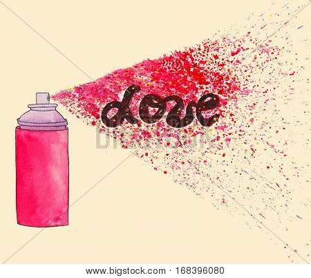 Love poster. Graffiti street art illustration with paint splashes, splatters and dribbles. Colorful watercolor painting on pink background.