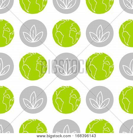 World Wildlife Day tileable background. Vector design element, seamless pattern with symbols of plants and planet Earth. Leaves and green globe on white