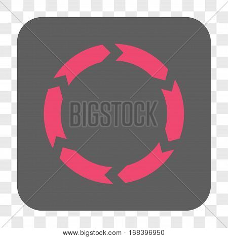 Circulation interface toolbar button. Vector icon style is a flat symbol in a rounded square button pink and gray colors chess transparent background.