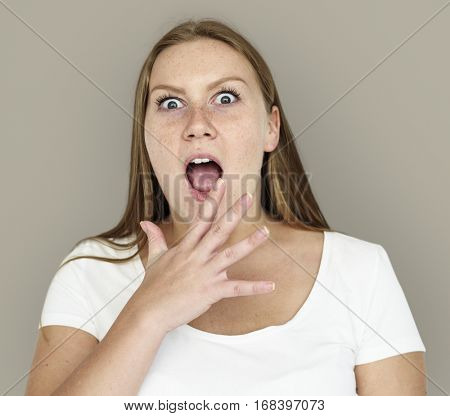 Caucasian Girl Shocked Hand Gesture